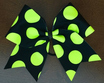 Cheer Bow - Black with Neon Polka Dots (Yellow, Green, Orange, Pink)