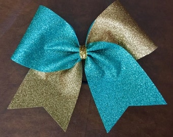 Cheer Bow - Teal and Gold Glitter