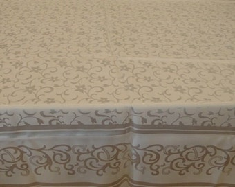 """Oblong Tablecloth  - 67"""" x 52"""" Vintage Weaved Tablecloth with Shimmer, Exquisite Piece"""