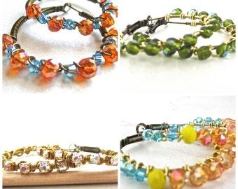 End of Summer Sale // Beaded Hoops // Green Glass Bead Hoops // Blue and Orange Hoops // Clear Rhinestone Hoops // Blue Rose Gold Yellow