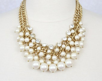 Chunky Pearl Necklace Cluster Pearl Necklace Rhinestone Bib Necklace Bridal Necklace Ivory White Pearl Statement Necklace