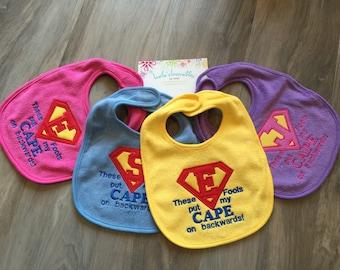 These fools put my cape on backwards, blue, cape bib, personalized baby bib, velcro bib, cute saying