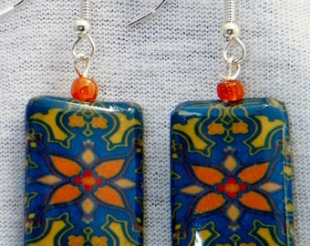 "royal blue yellow orange  Funky boho Morrocan tile lightweight decoupage everyday earrings for her 2-1/4"" drop"