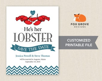 He's Her Lobster (FRIENDS inspired) wedding save-the-date / Customized printable digital file / Printing services available in U.S.