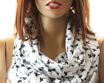Flamingo printed Infinity scarf, women scarves, girls accessories, women accessories, girls gift ideas, women gift, animals scarf, scarves