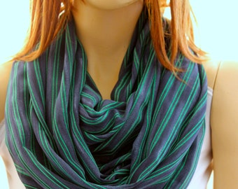Green Navy Blue Infinity Scarf Loop Scarves Woman Scarves Woman's Scarves Accessories