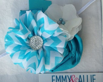 Aqua & White Fabric Flower Headband Teal/Turquoise