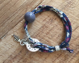Liberty Cotton bracelet with Charms and pearls, and adjustable