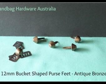 Metal Hand Bag / Purse feet 12mm  (Bucket) - Antique Bronze - Handbag Hardware / Bag Making Supplies
