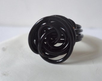Black Rose Wire Wrapped Ring - Size 7 - 16 Gauge Black Coated Copper wire