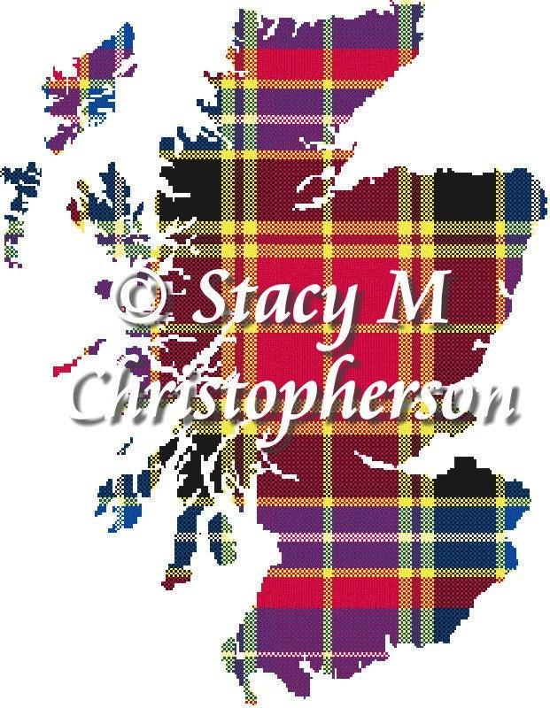 scottish tartan cross stitch pattern scotland map