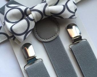 White/Grey Circles Bowtie/Suspenders set. Bow Tie Set!