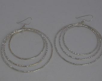 Agentium Silver, Triple Hoop Earrings, LARGE