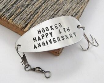 4th Anniversary Gift for Him 4 Year Anniversary Fourth Wedding Annivesary Gift for Wife Gift for Her Steel Anniversary Fishing Lure Couple