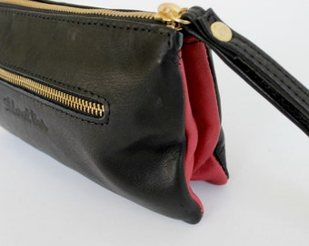 Leather wallet in black and red , wristlet clutch , Leather clutch purse