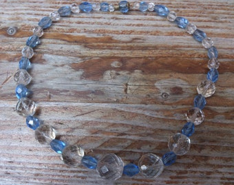 vintage blue and white faceted glass bead necklace