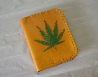 "Refillable Leather Journal Cover ""Hemp Leaf"""