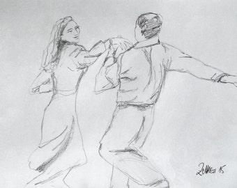 Tango Uno, Pencil Drawing, Tango Dancer
