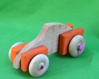 Toy Car, Wood Car, Car, Orange Car