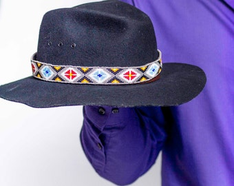 Hat Band Beaded Native American Inspired Red Yellow Black Blue