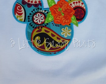Minnie Mouse Hawaiian Ears Shirt-Applique Shirt- Custom Applique Shirt- Mouse Head Shirt- Aulani- Polynesian
