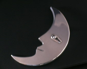 Mexico Sterling silver Crescent Moon Brooch TD-42 #0141