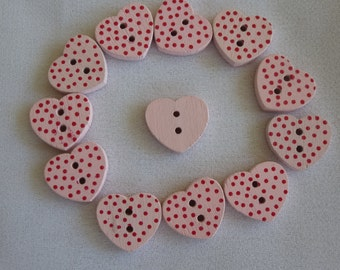 Heart buttons .  Set of 12