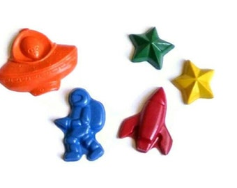 Space crayon party favors - outer space, planet party, astronaut, rocket ship, galaxy, space party, alien party favors, UFO, flying saucer