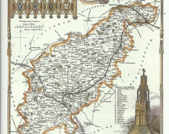 Northamptonshire County Map by Thomas Moule Antique Map County Map Wall Art Historical Map Print Home Decor