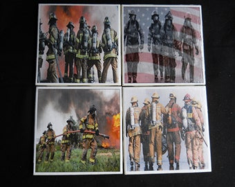 Firefighter Coasters ~ Fire Department Coasters ~ Ceramic Tile Coasters ~ Fireman ~ Drink Coasters ~ Firemen ~ Fire Department ~ Coaster Set