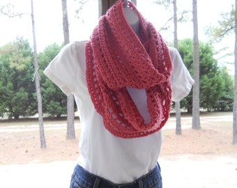 Pink Infinity Scarf ~ Pink Cowl ~ Rose Crochet Scarf ~ Crochet Cowl ~ Pink Scarf ~ Crochet Infinity Scarf ~ Crocheted Scarf ~ Spring Scarf