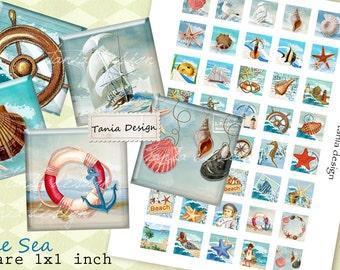 BLUE SEA - squares image - digital collage sheet - 1 x 1 inch - Printable Download