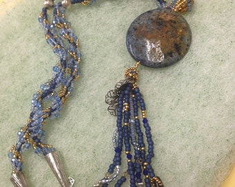Beaded Spiral Rope Necklace,Dumortierite Necklace,Boho Blue Tassel Necklace,