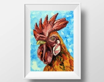 Rooster Print, Rooster Art, Kitchen Decor, Giclee Chicken Print, Animal Print, Rooster Art, Rooster, Chicken, Roosters, Chickens, Whimsical
