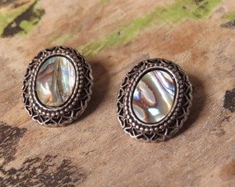 Vintage Silver Abalone Earrings Coro Jewelry Repurpose Reuse Wear