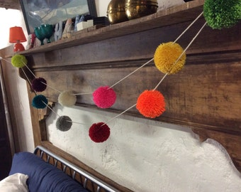 Pom pom garland, multicoloured with Giant pom poms, great feature decoration for any room