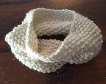 Hand knit cream cowl scarf
