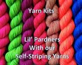 Yarn Kit- Self striping and contrasting mini skein