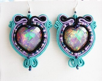 Soutache earrings heart