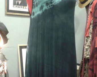 Little Tie Dye Summer Dress, turquoise and black or pink and black...