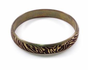 Gold and Brown Animal Print Brass Bangle