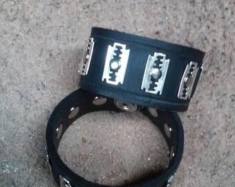 Razor Blade Black Leather Bracelet