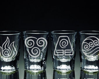 Avatar, The Last Airbender, The Legend of Korra - Elements - 4 - 2 ounce Shot Glasses Set, Drinking Glasses
