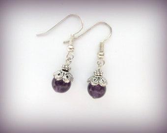 Purple earrings - Amethyst Gemstone -  gemstone earrings - earrings