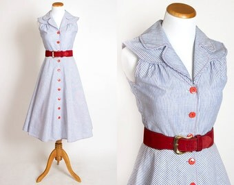 Vintage 70s STRIPED Sundress NAUTICAL Dress | 1970s Blue COTTON Button Up Sleeveless Day Dress (small)