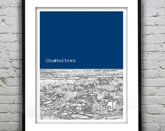 1 Day Only Sale 10% Off - Chestertown Skyline Print Print Maryland MD Version 2