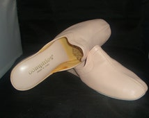 Vintage Oomphies Granada Light Pink Leather Slippers/Shoes Size 8 (1980s) (New Old Stock)