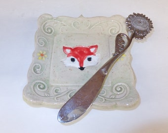 Ceramic Fox Plate, Spoon Rest, Ring Holder, Tapas Plate