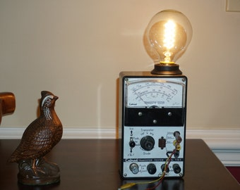 Steampunk electronics tester and bed side soft lighting. vintage tester. New Edison bulb, cord and socket. Man Cave. Open to offers !