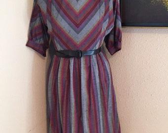 Office Romance Dress - Vintage Secretary Dress - Size Medium - Large - Vintage Striped Dress  - Vintage Belted Dress - Chevron Dress